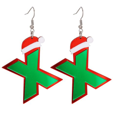 Christmas acrylic sheet X-shaped resin hat earrings NHJJ273701's discount tags