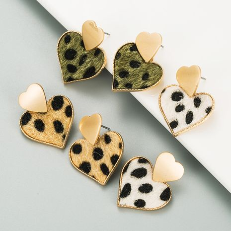 multi-layer heart-shaped alloy leopard-print flannel flocking earrings NHLN273725's discount tags