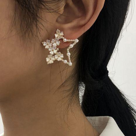 Sweet Pearl Pentagram Earrings NHMD273746's discount tags