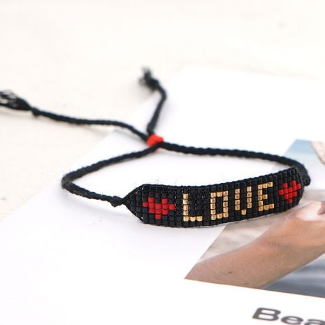letter LOVE bohemian exotic handmade beaded bracelet NHGW273770's discount tags