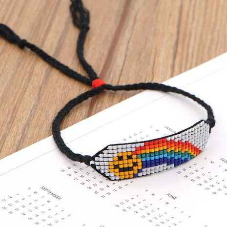 woven smiley rainbow Bohemian beaded bracelet  NHGW273772's discount tags