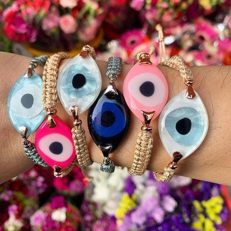 Bohemian hand-woven acrylic resin evil eye bracelet NHGW273778's discount tags