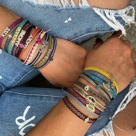 simple bohemian ethnic style diamond fatima eye bracelet  NHGW273783's discount tags