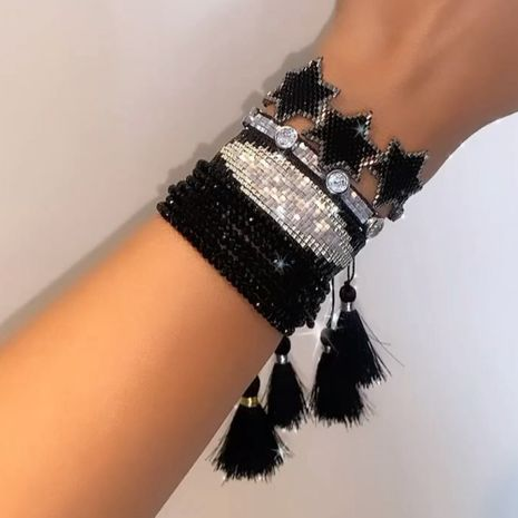 black punk style diamond handmade beaded woven six-pointed star bracelet  NHGW273785's discount tags