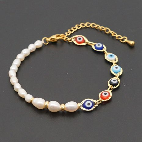 retro ethnic style color eye beads simple baroque natural freshwater pearl bracelet NHGW273793's discount tags