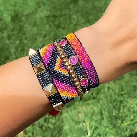 ethnic style geometric hand-woven Miyuki rice bead bracelet  NHGW273796's discount tags