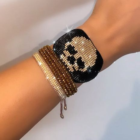 retro punk style multi-layer crystal stacking handmade woven skull bracelet NHGW273803's discount tags