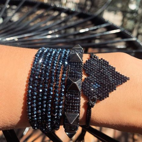 retro punk rivet wind multi-layer crystal stacked Miyuki rice bead woven bracelet  NHGW273804's discount tags
