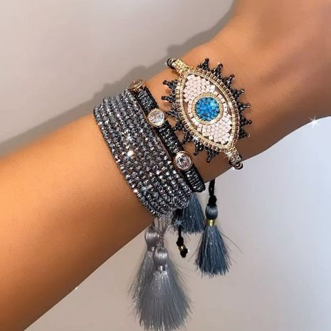 ethnic style multi-layer crystal stacking bracelet NHGW273805's discount tags