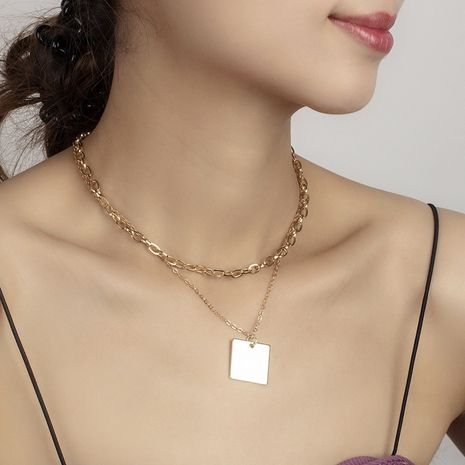 geometric golden glossy multi-layer necklace NHRN273827's discount tags