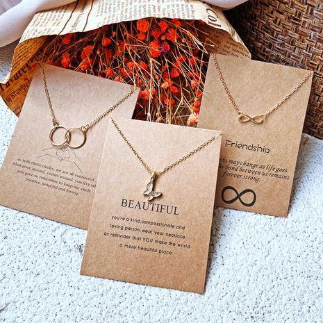 Einfache Kreis Retro Brief Schmetterling Legierung Halskette NHPJ273831's discount tags