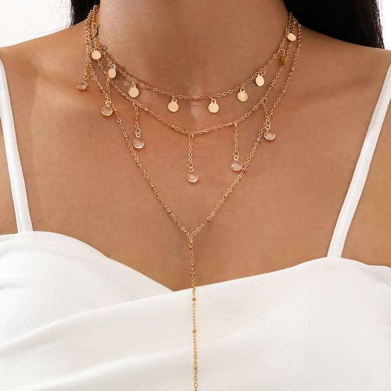 fashion  multilayered clavicle chain disc pendant long tassel necklace  NHPV273839