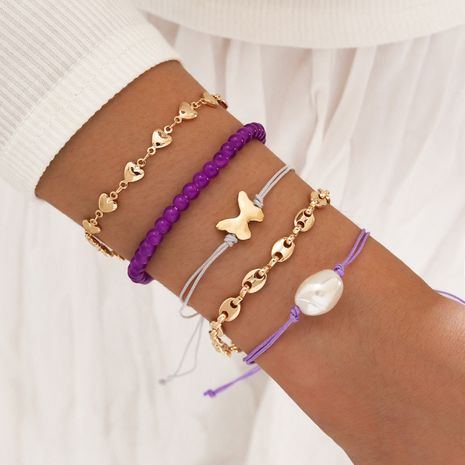 Purple  Pig Nose Chain Imitation Shaped Pearl Butterfly  Hand Rope Heart Bracelet 5 Piece Set NHPV273857's discount tags