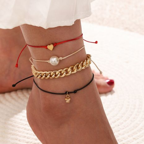 new  simple punk chain hand-worn heart-shaped  pearl butterfly pendant anklet 4-piece set NHPV273862's discount tags