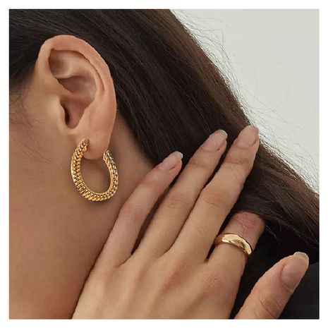 simple and irregular C-shaped gold earrings NHCT273879's discount tags