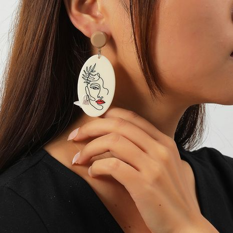 Fashion Acrylic Simple Retro Exaggerated Face Resin Earrings NHKQ273896's discount tags