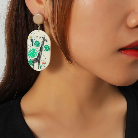 creative acrylic oval earrings NHKQ273897's discount tags
