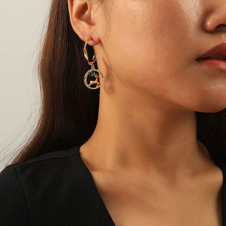 Exaggerated geometric hollow round deer earrings  NHKQ273903's discount tags