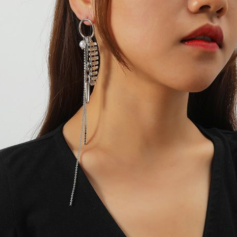 Fashion long tassel diamond exaggerated earrings  NHKQ273907's discount tags