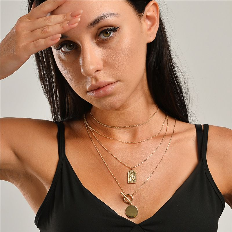 wholesale 4 sets of coin totem multilayer necklace NHLU273940