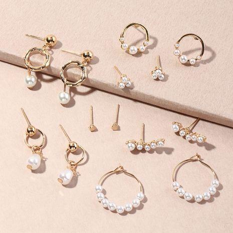 Set de 7 pares de pendientes creativos de perlas NHNZ273992's discount tags