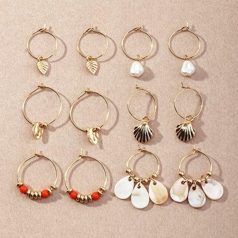 Pendientes de concha de perlas con colgante de disco estilo étnico 6 pares NHNZ274003's discount tags