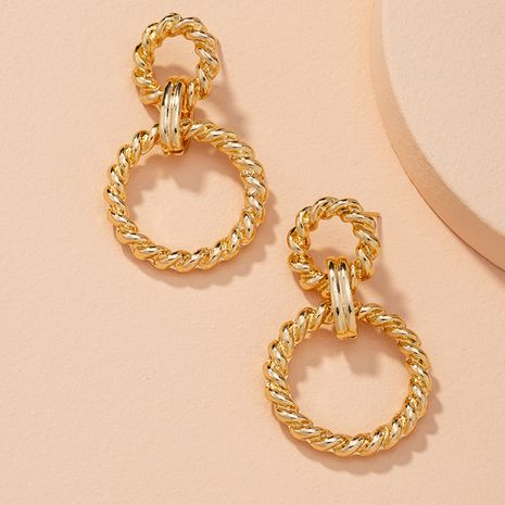 fashion twisted double button exaggerated earrings NHAI274054's discount tags