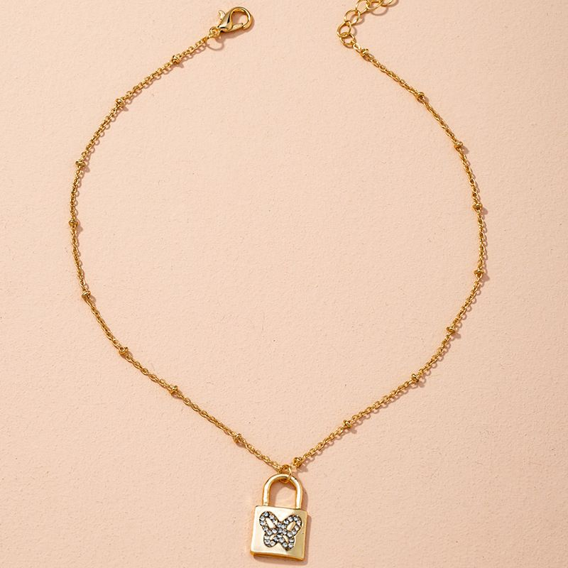 Golden Simple Fashion Snake Bone Chain Necklace  NHAI274084
