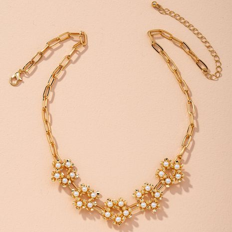 geometric  pearl water wave chain flower rose gold necklace NHAI274092's discount tags