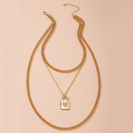 fashion geometric multi-layered  golden necklace NHAI274109's discount tags