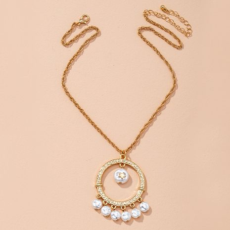 Korean fashion women's pearl round gold  simple necklace  NHAI274110's discount tags