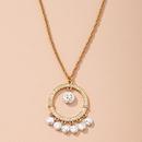 Korean fashion womens pearl round gold  simple necklace  NHAI274110