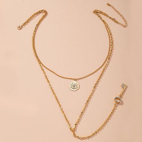 fashion personality geometric golden demon eye necklace NHAI274114's discount tags