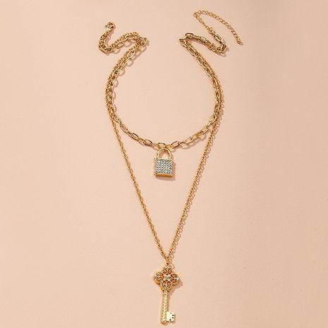 gold new  lock pendant geometric hip hop necklace  NHAI274116's discount tags
