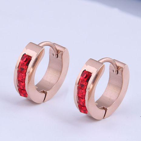 Boucles d'oreilles simples en acier titane à la mode coréenne cloutées de diamants NHSC274492's discount tags