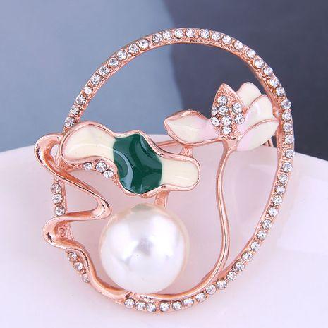 broche poétique lotus coréenne sertie de diamants NHSC274480's discount tags