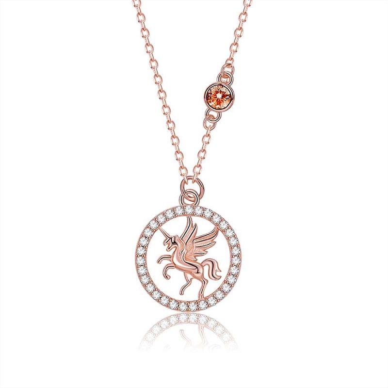 S925 Sterling Silver Fashion Unicorn Pendant Necklace NHKL274164