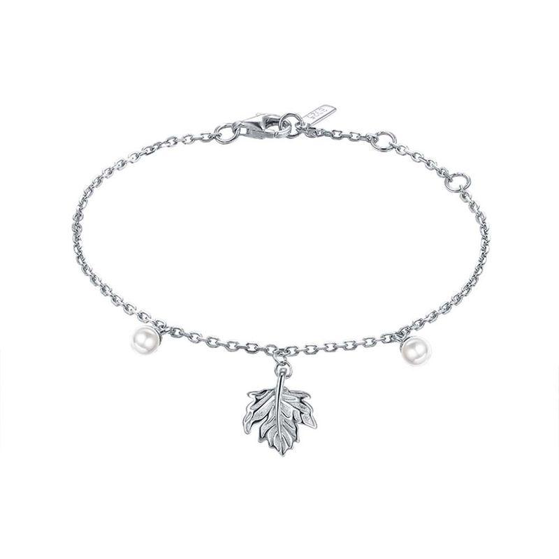 S925 Sterling Silver Fashion Maple Leaf Pearl Bracelet NHKL274168