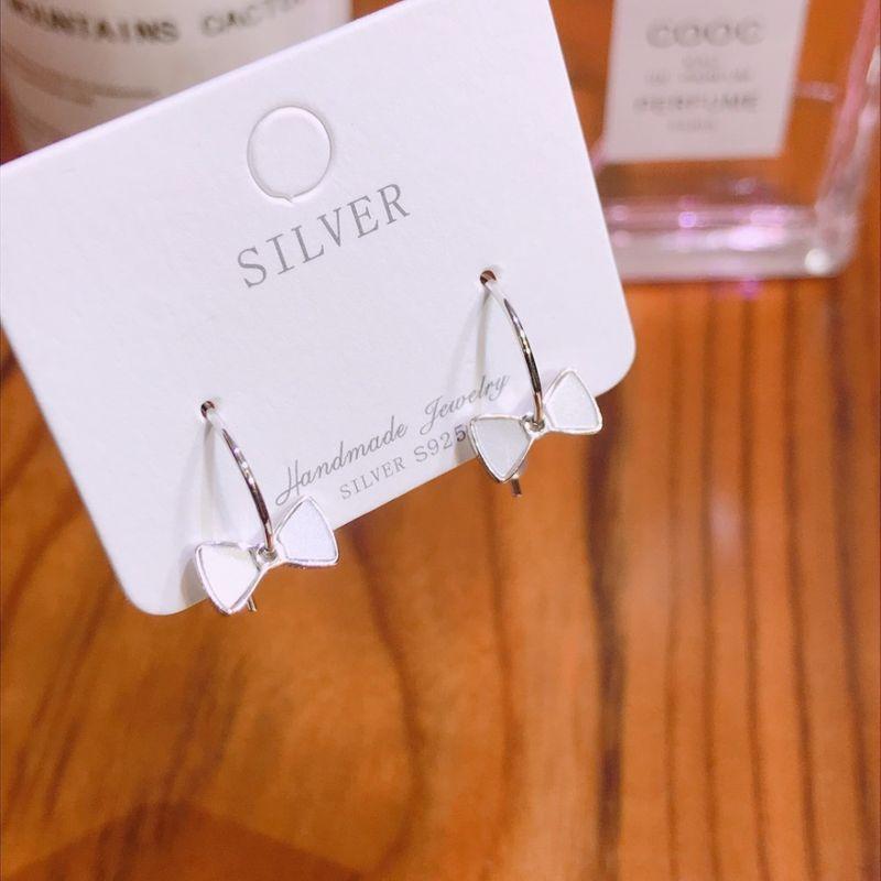 S925 Silver Half Circle Bow Fritillary Earrings NHKL274178