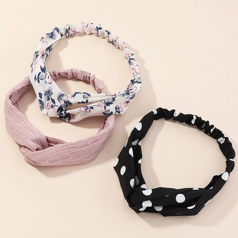 fabric printing cute polka dot cross headband NHAU274230's discount tags