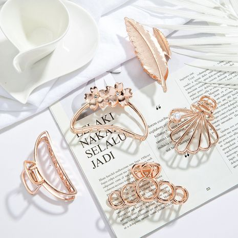 geometric shell flower big catch metal hair clip  NHGE274238's discount tags