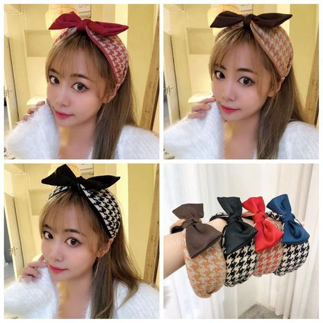 retro woolen houndstooth bow headband  NHHD274325's discount tags