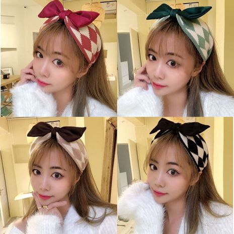 Korean retro wool geometric pattern bow hairband  NHHD274326's discount tags