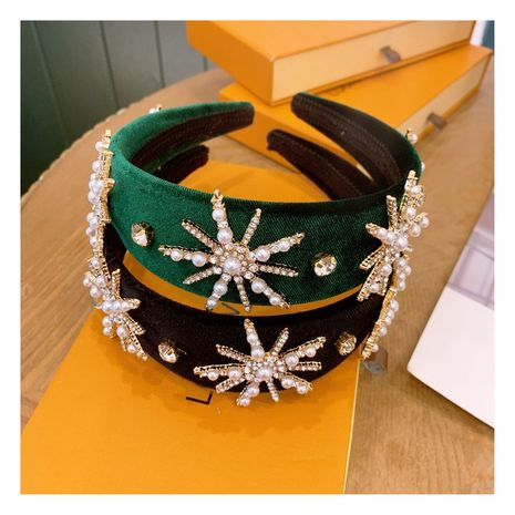 retro velvet full diamond pearl snowflake crown headband  NHHD274327's discount tags