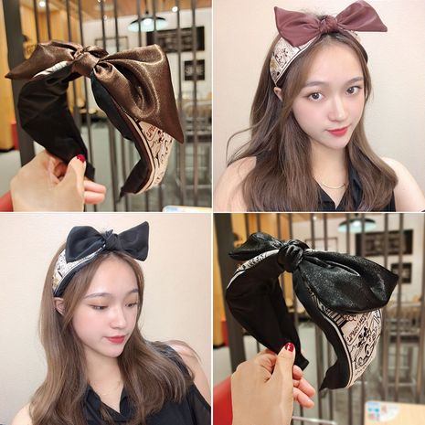 Mickey print big bow headband NHUX274333's discount tags