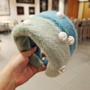 candy color wide side plush pearl hair band NHUX274337