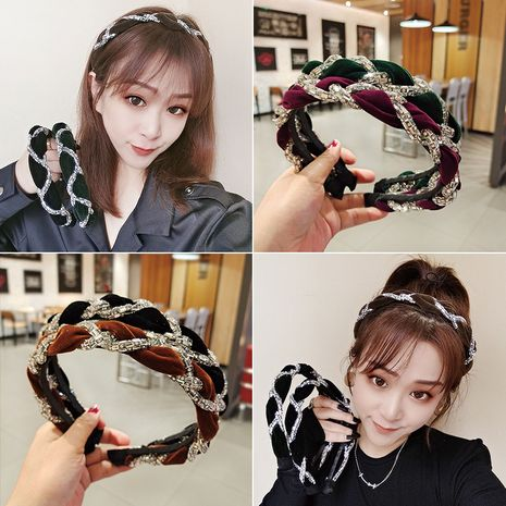 flocking rhinestone headband NHUX274339's discount tags