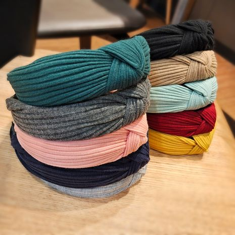 Korean woolen solid color striped knitted headband  NHUX274348's discount tags