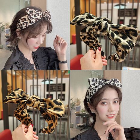 Leopard Print Bow Hair Band  NHUX274350's discount tags