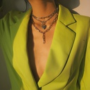 retro peach heart opening buckle geometric tassel necklace NHDM274362